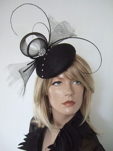 Black Curled Quills and Swarovski Crystals Button Headpiece Fascinator MN177